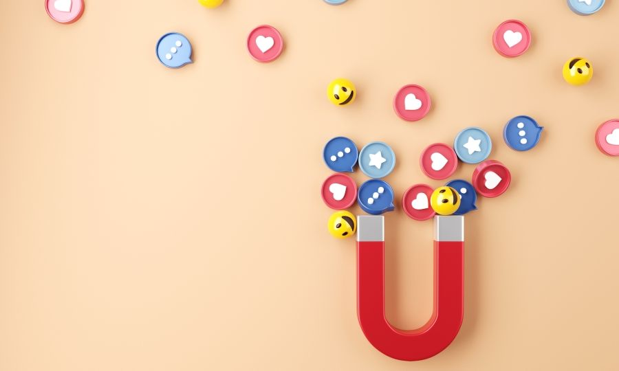 Magnet attracting social media reactions and engagement.